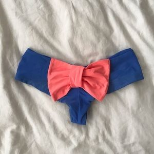 Lolli Swim Bow Bottoms In Peach and Blue